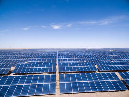 desert ecosystem: solar power plants, look down from above, golmud in qinghai province, China Stock Photo