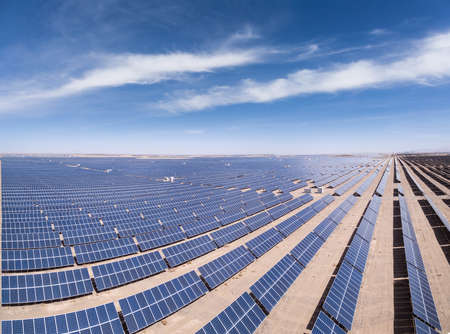 panoramic view of solar power plants , look down from above