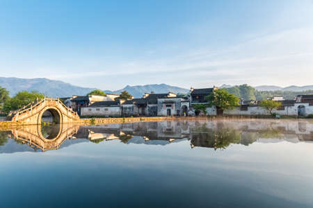 southern: beautiful ancient villages in the early morning, hongcun, southern anhui province, China