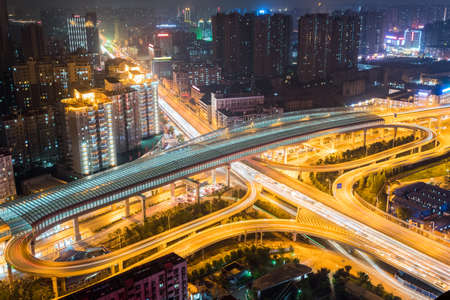 wuhan overpass at night, city interchange on rush hour