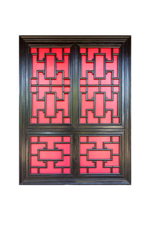 lattice window: traditional chinese lattice window isolated on white with clipping path Stock Photo