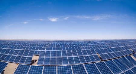 desert ecosystem: solar power plants closeup,  golmud in qinghai province, China