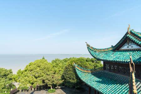 hunan province, 중국 yueyang 타워에서 dongting 호수 풍경