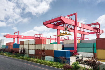 shipping containers port, modern logistics background