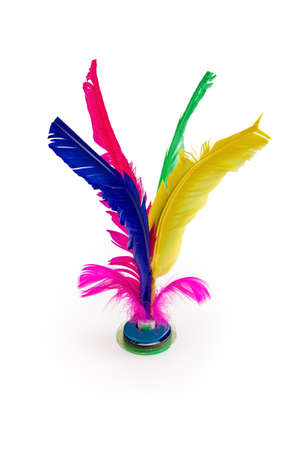 colorful feather shuttlecock isolated on white background