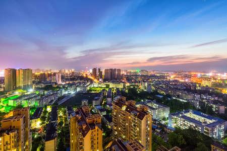 jiujiang cityscape in sunset, beautiful small city, jiangxi province, China