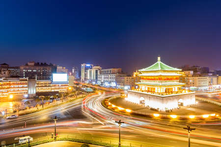 Xi'an , the starting point of the ancient silk road, beautiful bell tower at night, China