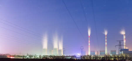 power plant at night, basic industrial energy background 写真素材