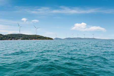 wind farm on seaside, beautiful seaview and new energy