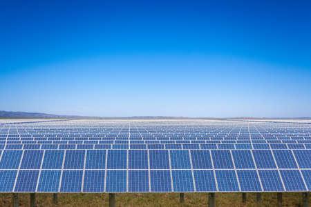 solar power plant with blue sky on prairie, new energy in inner mongolia
