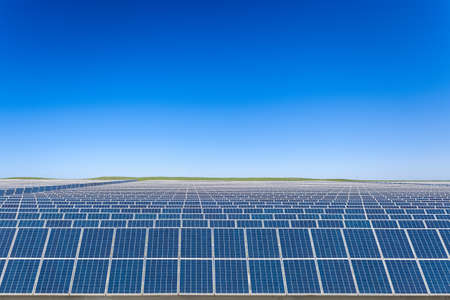 solar energy with blue sky on prairie, beautiful landscape in inner mongolia, China Stock Photo