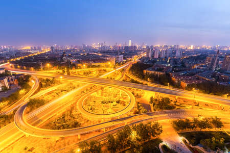 city overpass at night, traffic infrastructure background in tianjin Stok Fotoğraf