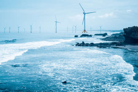 offshore wind farm , clean energy background with seascape