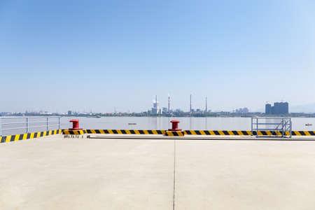empty concrete floor of inland pier and yangtze river landscape