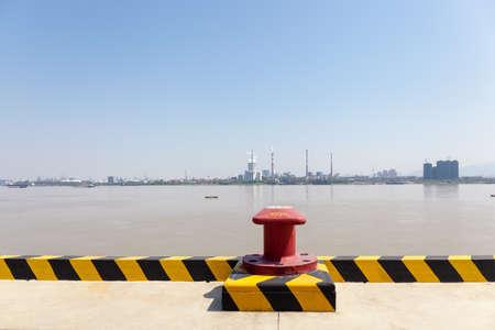 inland pier and yangtze river landscape , the golden waterway transport concept