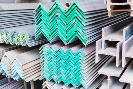 steel construction materials closeup, color mark for different sizes of metal