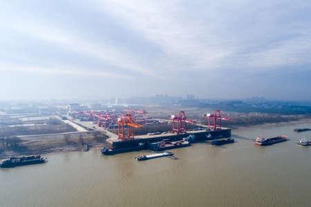a birds eye view of inland container terminal in jiujiang, China