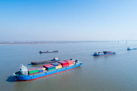 container ships closeup on yangtze river, water transport concept