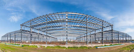 steel structure workshop panoramic view, factory buildings in construction
