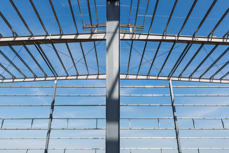 steel structure workshop closeup , factory buildings in construction
