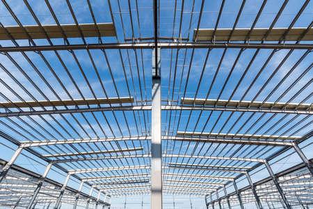 steel structure workshop closeup is under construction