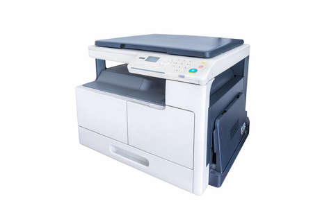 office multifunction printer isolated on white background