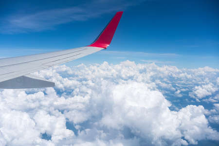airplane wing view , travel by plane Stock Photo