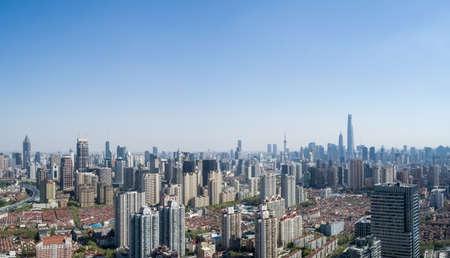 aerial view of shanghai cityscape, modern metropolis skyline Фото со стока
