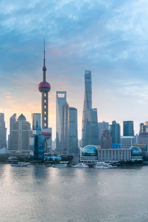 shanghai cityscape closeup in morning ,pudong financial center and huangpu river