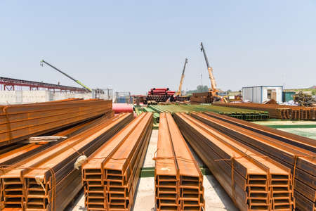 steel i-beam on bridge construction site