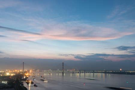 jiujiang cable-stayed bridge   and  yangtze river landscape, China 스톡 콘텐츠