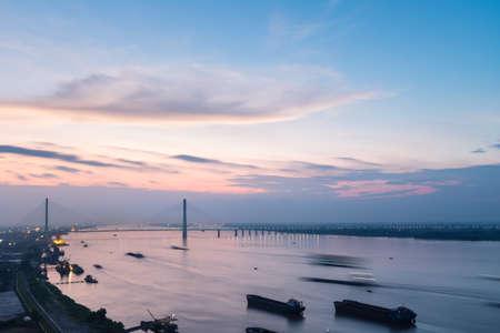 jiujiang cable-stayed bridge and yangtze river in China 免版税图像
