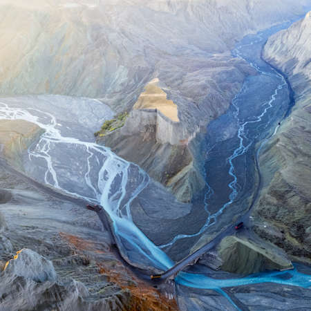 beautiful xinjiang anjihai grand canyon, a road for transporting coal at the bottom of the valley