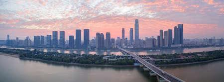 panoramic view of changsha skyline in sunrise, China 免版税图像