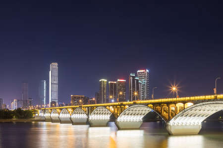 changsha orange island bridge at night, hunan province, China