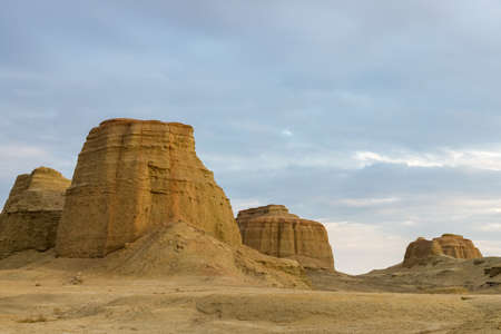 xinjiang ghost town at dusk, the wind erosion landforms closeup