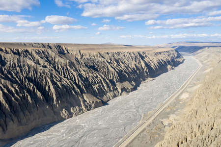 aerial view of kuytun grand canyon , xinjiang landscape, China