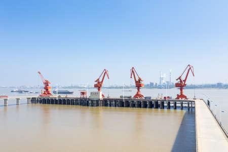 inland river wharf, dock cranes on yangtze river