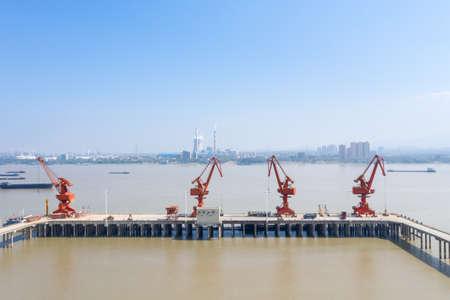 aerial view of inland river wharf, xiaochi, China