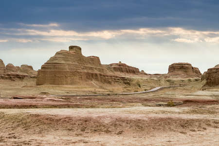 wind erosion landform landscape in urho ghost city, karamay, xinjiang
