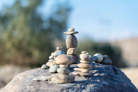 stone stack closeup, concept of balance and harmony