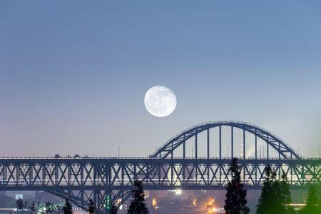 jiujiang yangtze river bridge closeup at night, China