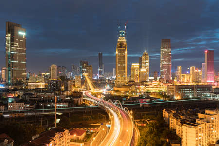 tianjin night scene, city road through the central business district, China Stock Photo