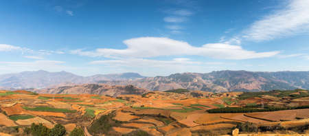 panoramic view of red land in dongchuan district, kunming, China