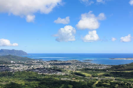 overlooking the green oahu island northeast plain beautiful scenery at pali lookout, hawaii