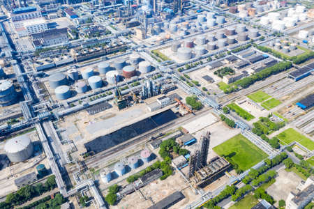 aerial view of petrochemical plant area,  industrial scene