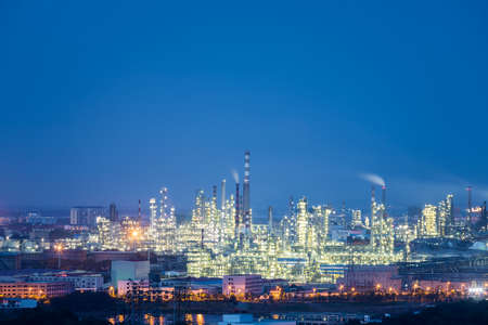 night view of petrochemical plant, industrial landscape