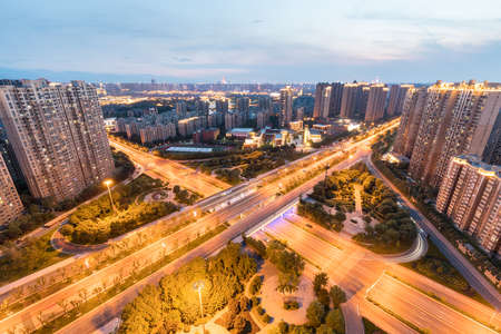city interchange in sunset, beautiful road junction on the ancient city of xi 'an , China Archivio Fotografico