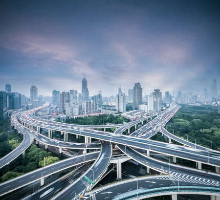 city interchange in shanghai, yan 'an east road overpass at dusk, China Stock fotó - 129311618
