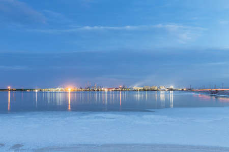 qarhan salt lake industrial landscape in nightfall, golmud city, qinghai province, China